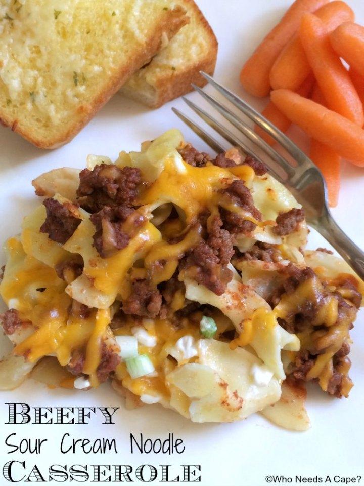 Beefy Sour Cream Noodle Casserole   Who Needs A Cape?