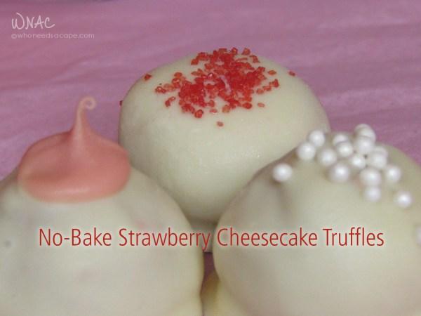 No-Bake Strawberry Cheesecake Truffles