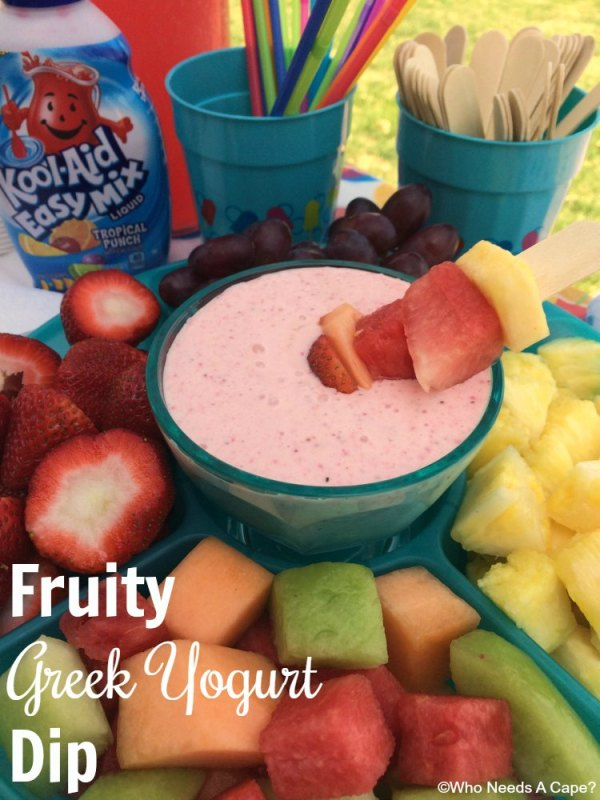 This super simple Fruity Greek Yogurt Dip is always a family favorite. You can make this in just a matter of a minute and serve with fresh fruit.