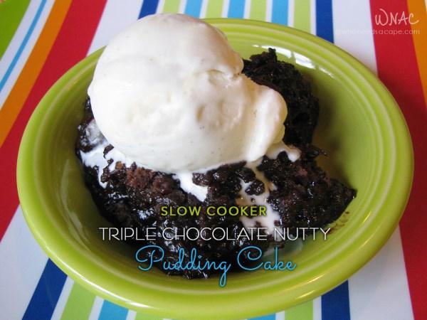 Triple Chocolate Nutty Pudding Cake