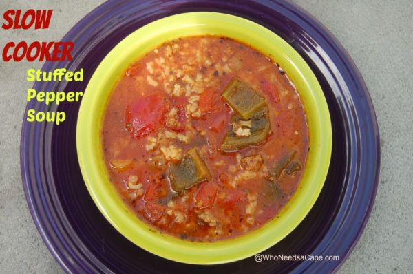 Slow Cooker Stuffed Pepper Soup | Who Needs A Cape?