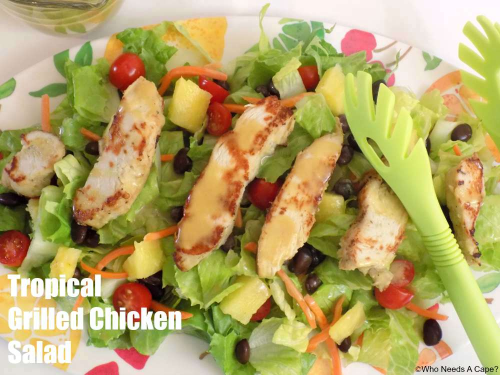 This Tropical Grilled Chicken Salad is delicious and easy to make using Tyson® Grilled and Ready® Chicken Breast Strips. Perfect back to school meal.
