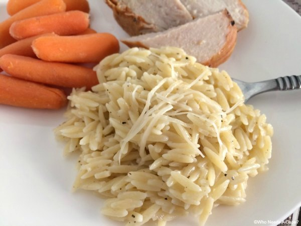 Delicious dinner consisting of Mesquite Pork Loin with Lemon Parmesan Orzo. This meal is a simple yet flavor packed family favorite in our home.