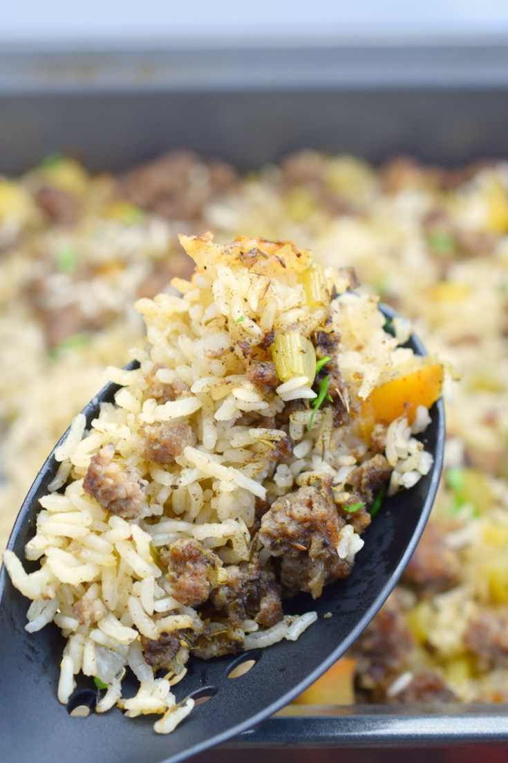 Savory Sausage and Apple Rice Casserole