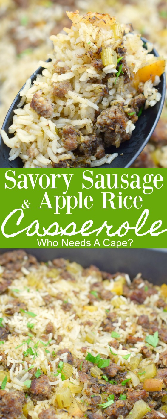 Serve this Savory Sausage and Apple Rice Casserole with your holiday meals. A delicious alternative to traditional stuffing, so easy to prepare and great for parties.