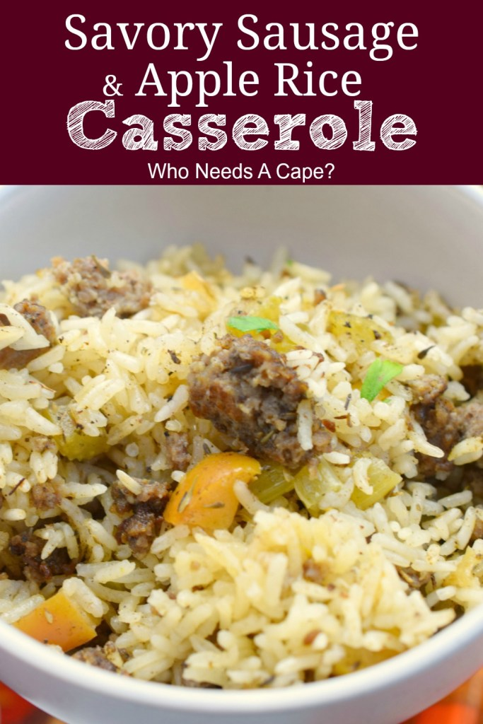 white bowl containing savory sausage & apple rice casserole