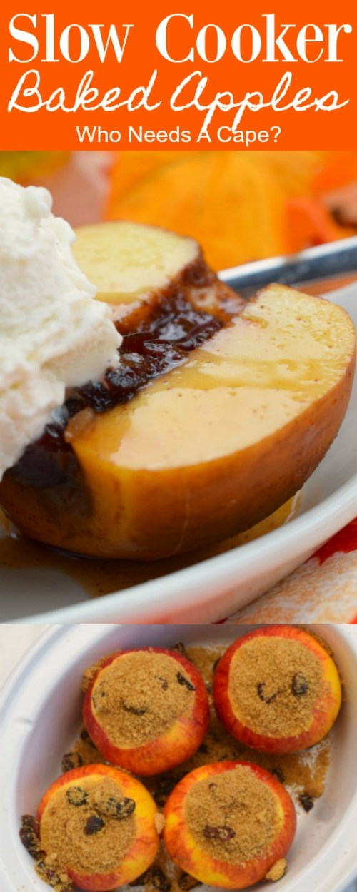 white bowl holding half of a baked apple with vanilla ice cream