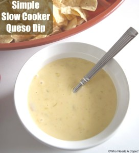 Super Simple Slow Cooker Queso Dip is just perfect for your big game gatherings. Easy to prepare and perfect for dipping a variety of snacks. Yum!