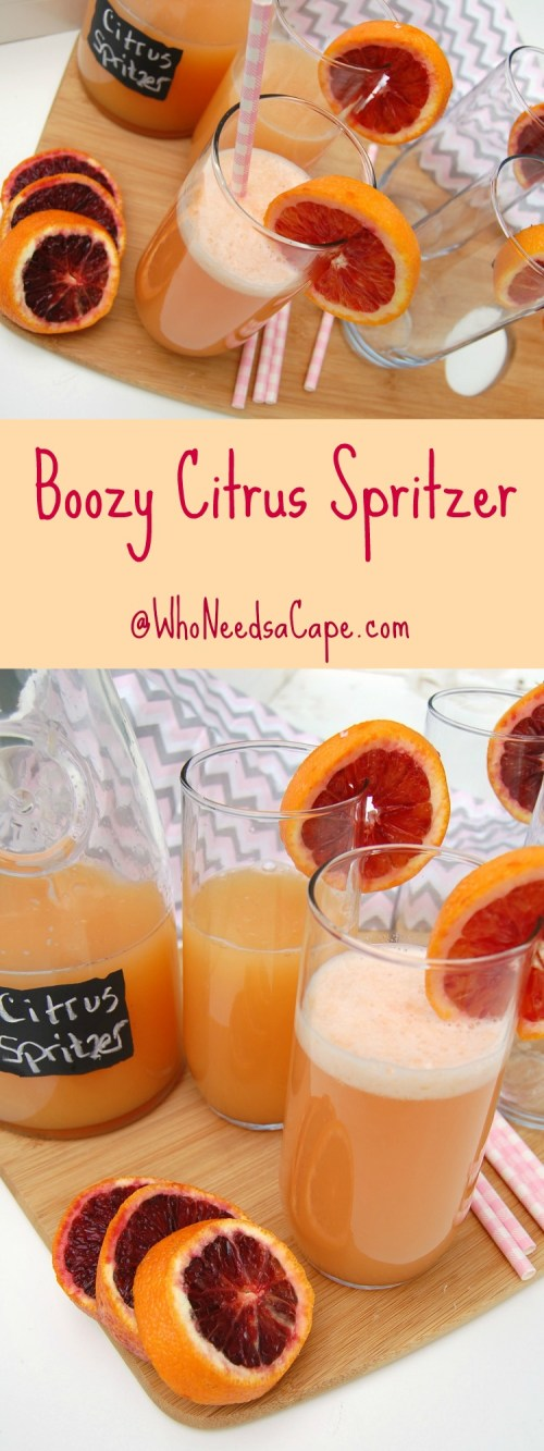 Boozy Citrus Spritzer is the perfect, fun cocktail to have! It's fruity and delicious! You can serve it by the pitcher for parties or by the glass!