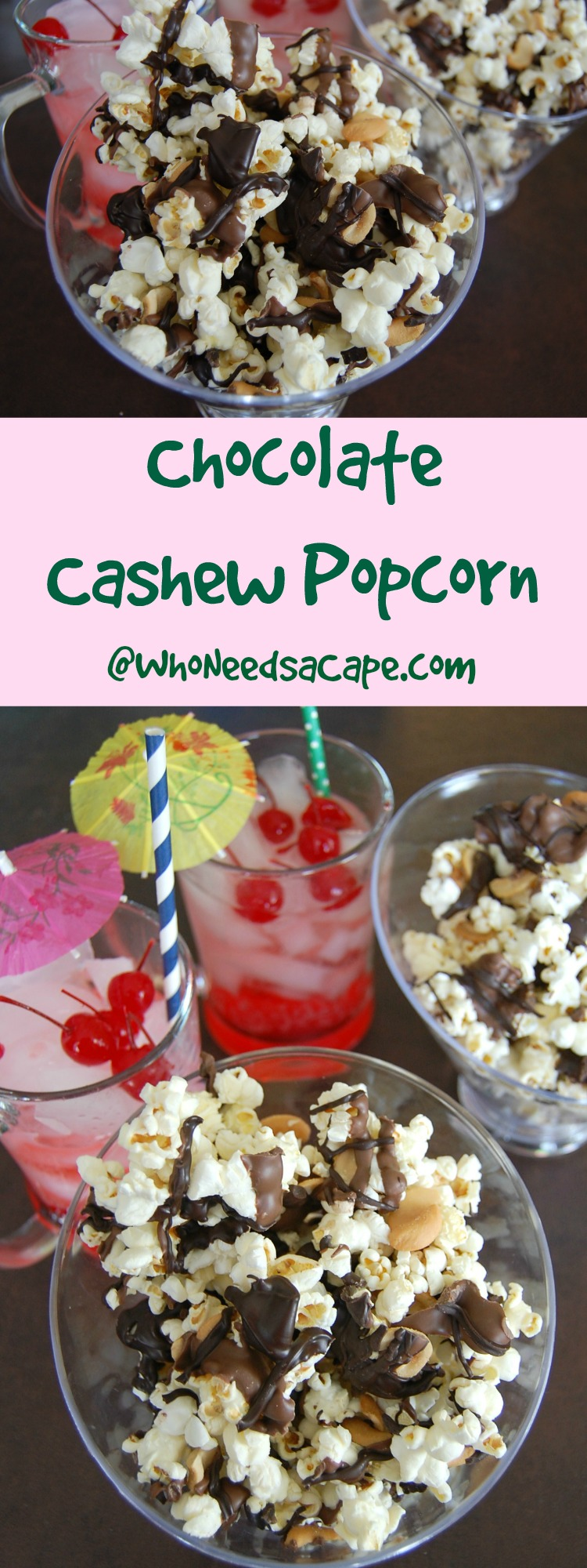 Chocolate Cashew Popcorn is a snack you can have ready in minutes for a family movie or game night. So good a must pin!