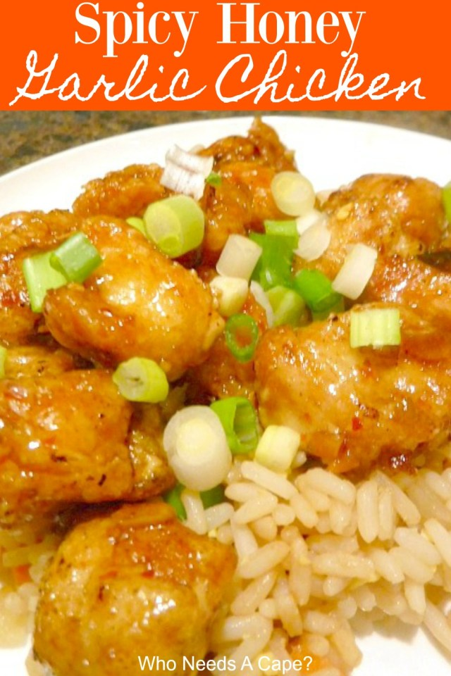 chicken pieces on plate with honey garlic sauce over rice