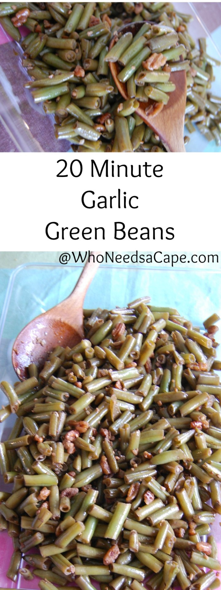 20 Minute Garlic Green Beans are a great side for those busy week nights. Tasty and good for you - a must pin!