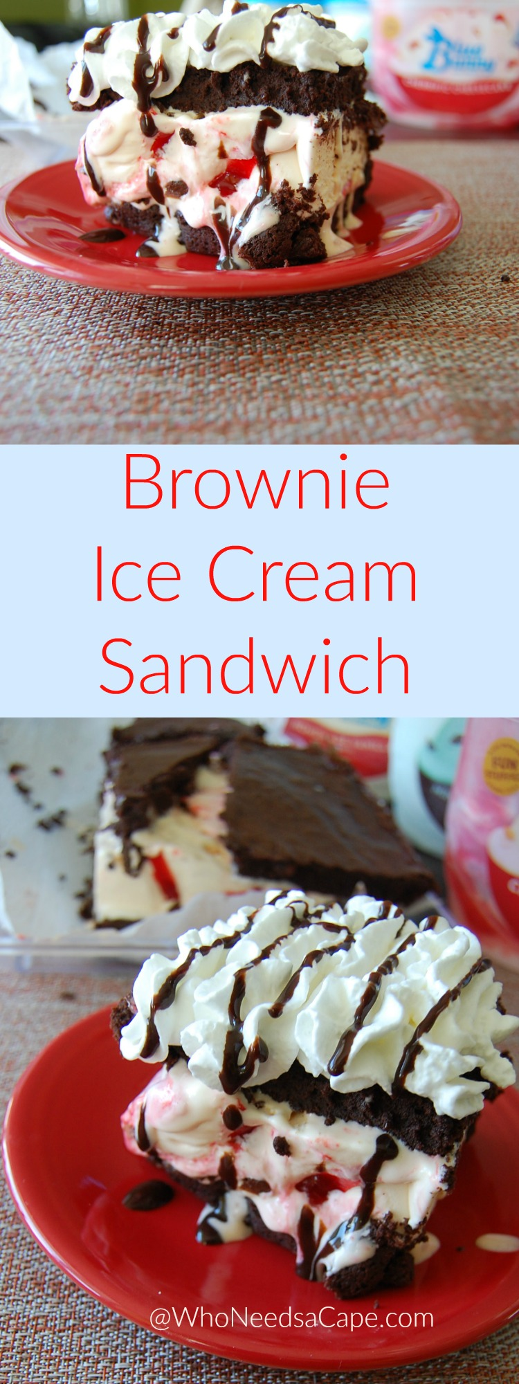 A Must Pin - Brownie Ice Cream Sandwich starts with a from scratch brownie (secret it's EASY) perfect for any summer night!