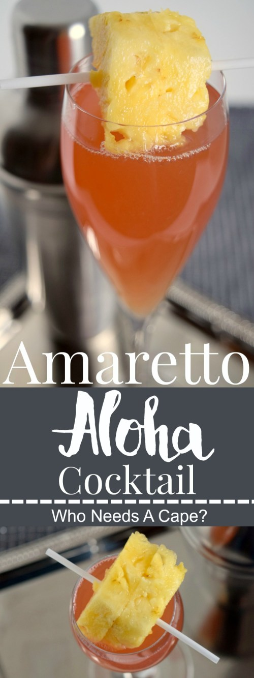 The Amaretto Aloha Cocktail sweeps you away to the tropics! A simple beverage to prepare, make a pitcher for your next party! | Who Needs A Cape?