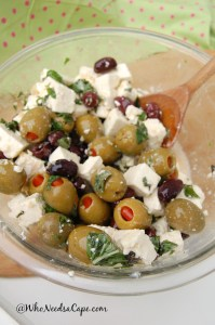 Feta Olive Salad is a great side dish. It's easy to make and you will love it at any BBQ, Picnic or just a great dinner night! You need to try this, delish!