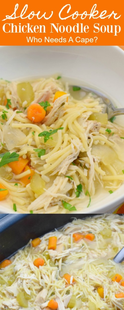 white bowl with slow cooker chicken noodlel soup and spoon