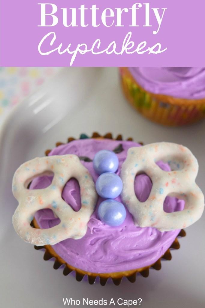 single cupcake on white serving platter