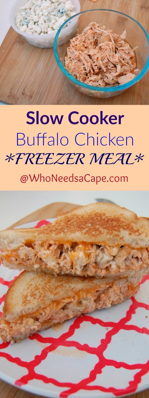 Slow Cooker Buffalo Chicken is an AWESOME Freezer Meal - Part of 40 meals in 4 hours you're going to love the flavor (and options of what to make for dinner!)