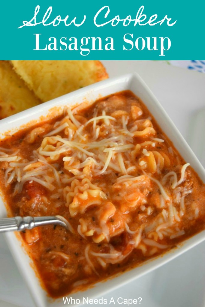 square white bowl of slow cooker lasagna soup with spoon