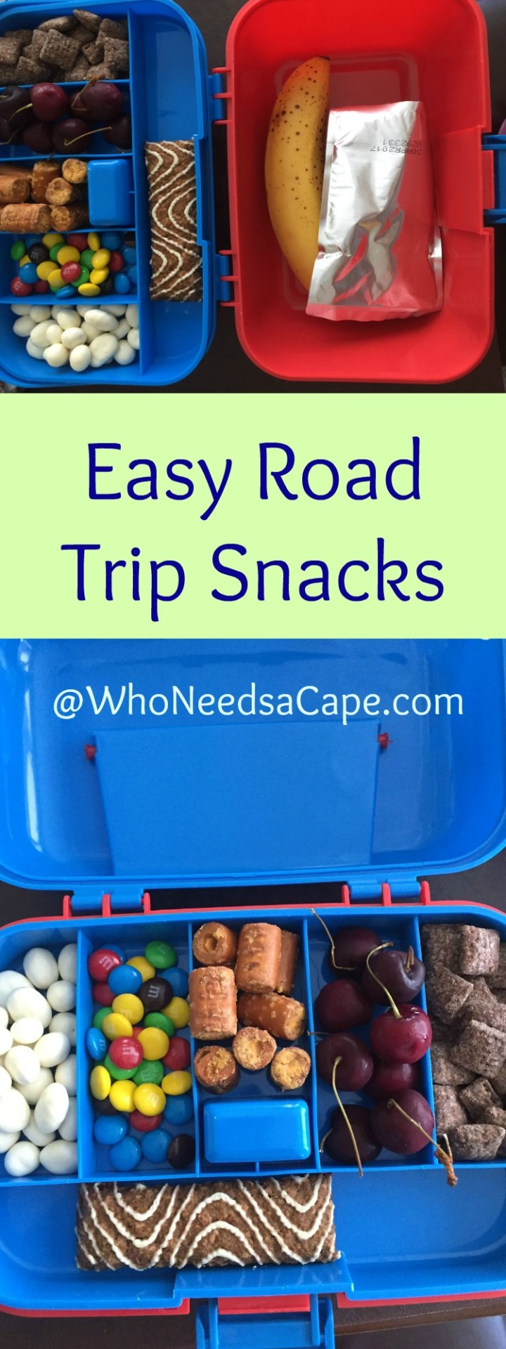 Easy Road Trip Snacks - This post shows you a really simple way to pack fun snacks for your kids! Who Needs a Cape