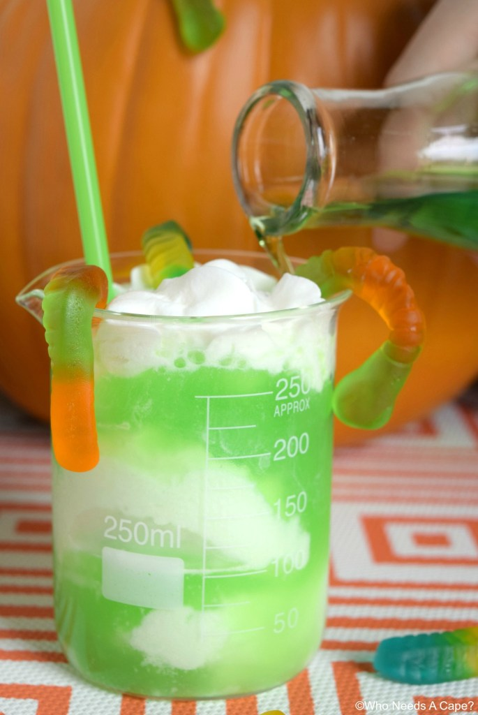 Whip up some Swamp Potion for Halloween parties! Non-alcoholic and so much fun! Kids and adults love the way it looks and tastes!
