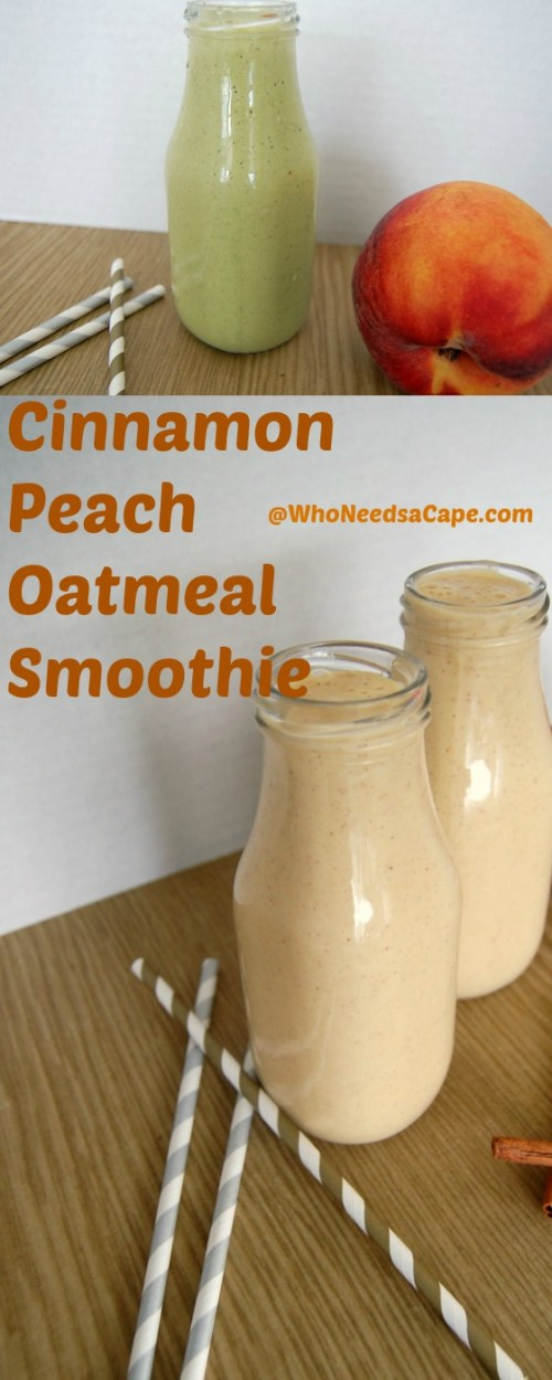 Cinnamon Peach Oatmeal Smoothie starts your day off great. Tastes amazing and you can drink on your way to work (or school) easy recipe
