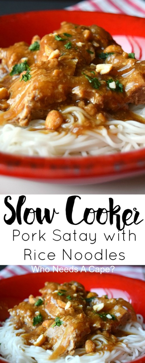 Slow Cooker Pork Satay with Rice Noodles, a deliciously simple meal that the whole family will love. Layers of flavor come together nicely in your crockpot.