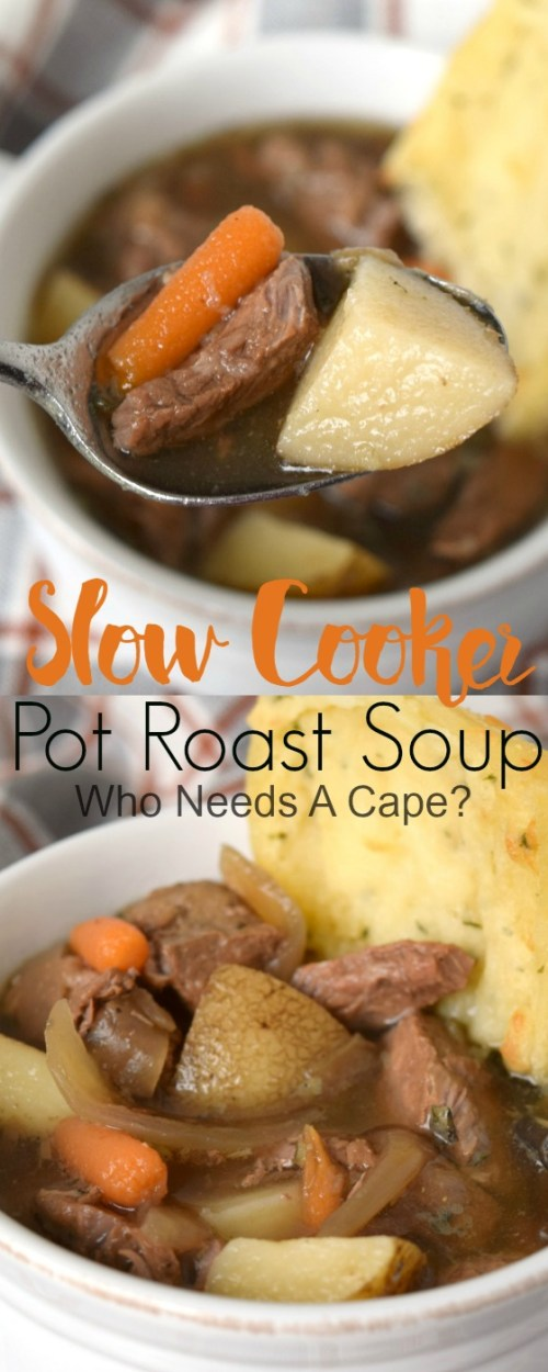 Slow Cooker Pot Roast Soup has tender beef, loads of carrots and potatoes and caramelized onions! Perfect with some crusty bread!
