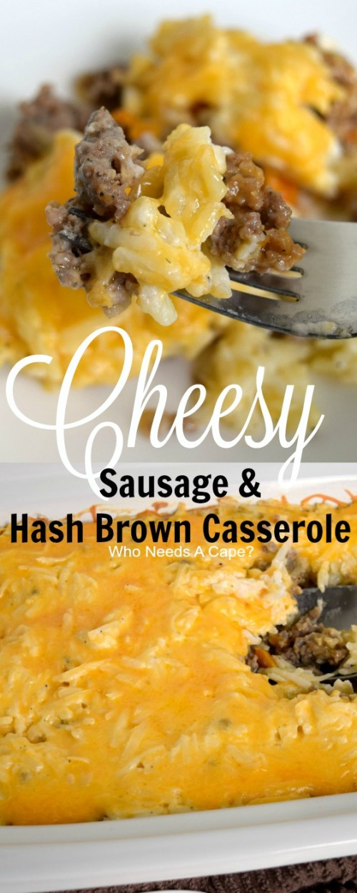 Liven up your comfort food with Cheesy Sausage & Hash Brown Casserole. Perfect for dinner, potlucks or as a holiday addition. So delicious!