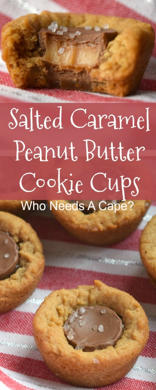 Salted Caramel Peanut Butter Cookie Cups are a great cookie for holiday cookie exchanges. Easy to make and ooey gooey good!