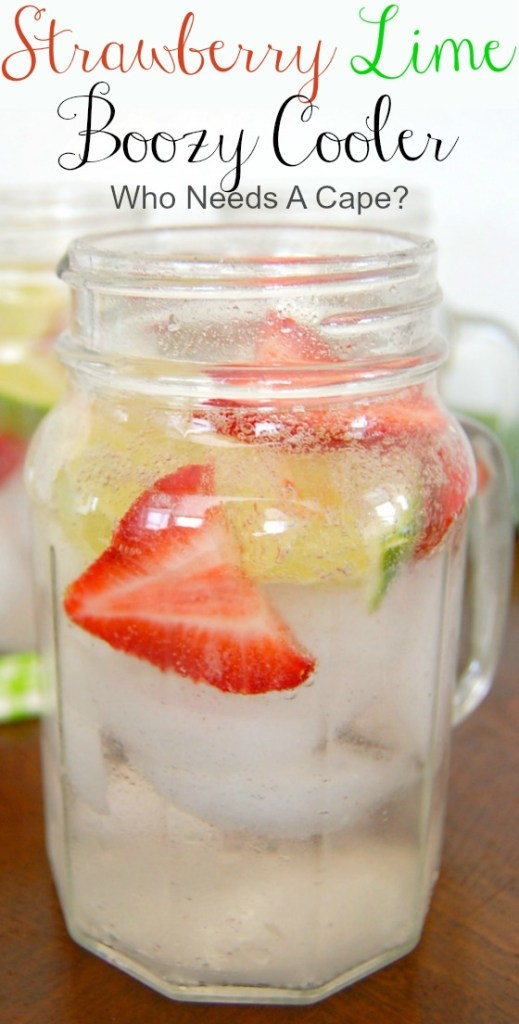 Strawberry Lime Boozy Cooler is a low calorie, refreshing cocktail. This drink makes the perfect summer sipper, great for pool days!