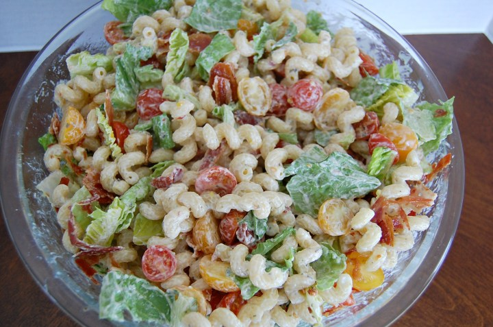 BLT Pasta Salad takes two favorites and turns them into one amazing side dish. With bacon and summer flavors, perfect for BBQ's and picnics.