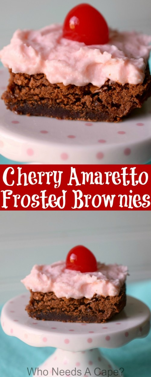 Brownies infused with Amaretto liqueur and topped with Cherry Amaretto Frosting are a decadent adult treat that will knock your socks off. They are amazing!