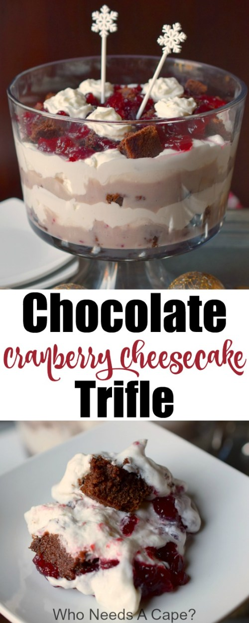 Chocolate Cranberry Cheesecake Trifle is an easy to prepare holiday dessert that feeds a crowd. With delicious layers, this sweet treat is a winner!