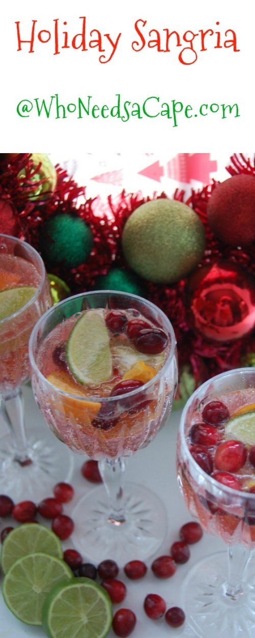 Holiday Sangria is an amazing and easy cocktail to make. Perfect drink for Christmas parties, or to ring in the New Year!