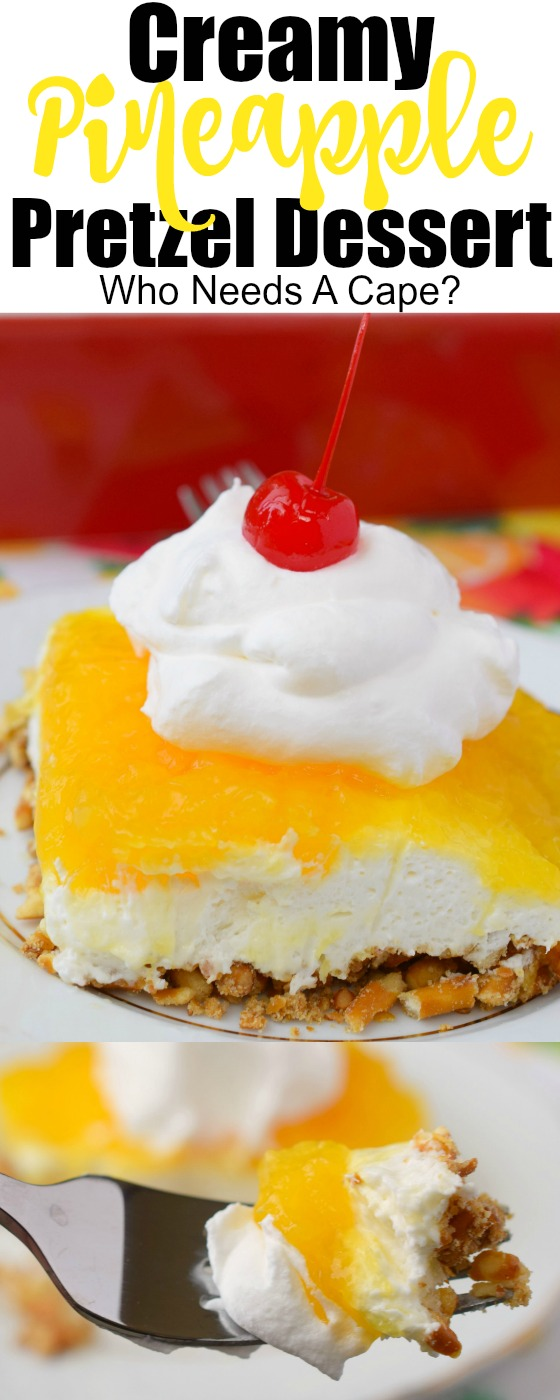 Creamy Pineapple Pretzel Dessert is an easy dessert that you can whip up in no time at all. Cool, creamy and refreshing, great for summer or holidays!