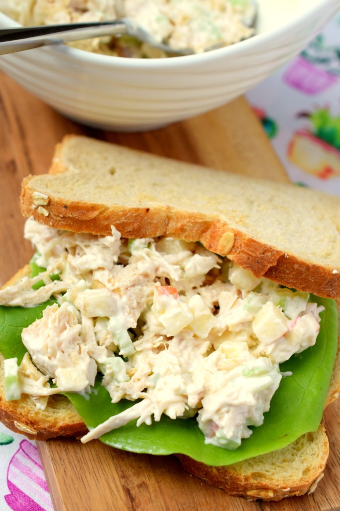 Harvest Chicken Salad is the perfect recipe to make when you have leftover chicken. Serve as a sandwich or over lettuce, this creamy, crunchy salad is delish