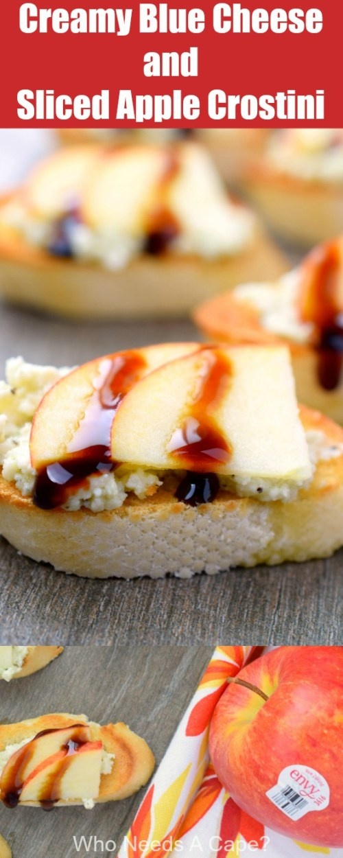 Creamy Blue Cheese & Sliced Apple Crostini is an easy to prepare appetizer that's perfect for holiday entertaining. Bite-sized & full of delicious flavors.