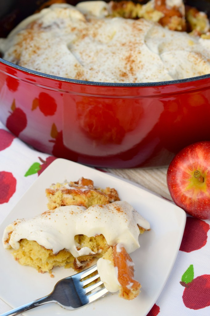 Dutch Apple Cobbler with Cheesecake Topping makes a wonderful dessert for a crowd. Serve for brunch or a holiday dessert, it is a tasty autumn treat.
