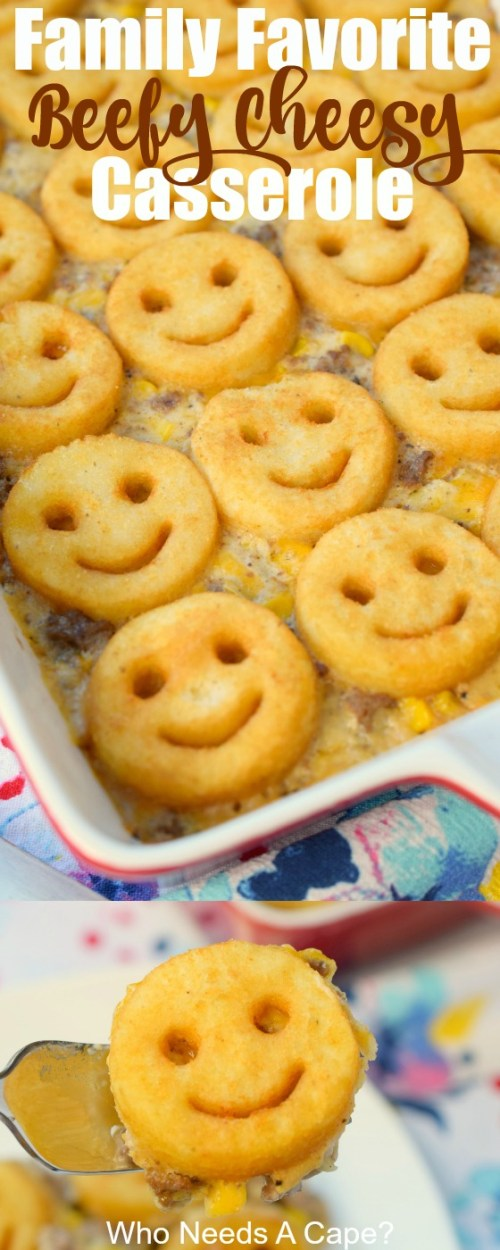 Need a great meal the kids will enjoy? Try this Family Favorite Beefy Cheesy Casserole with great flavors and a fun twist, they'll love it.