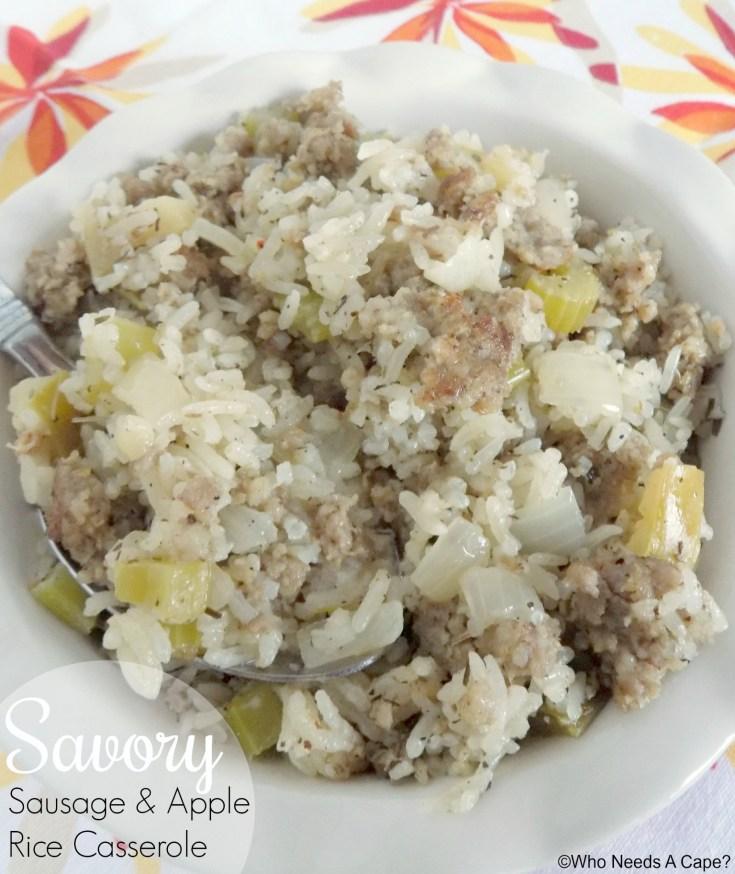 Savory Sausage and Apple Rice Casserole