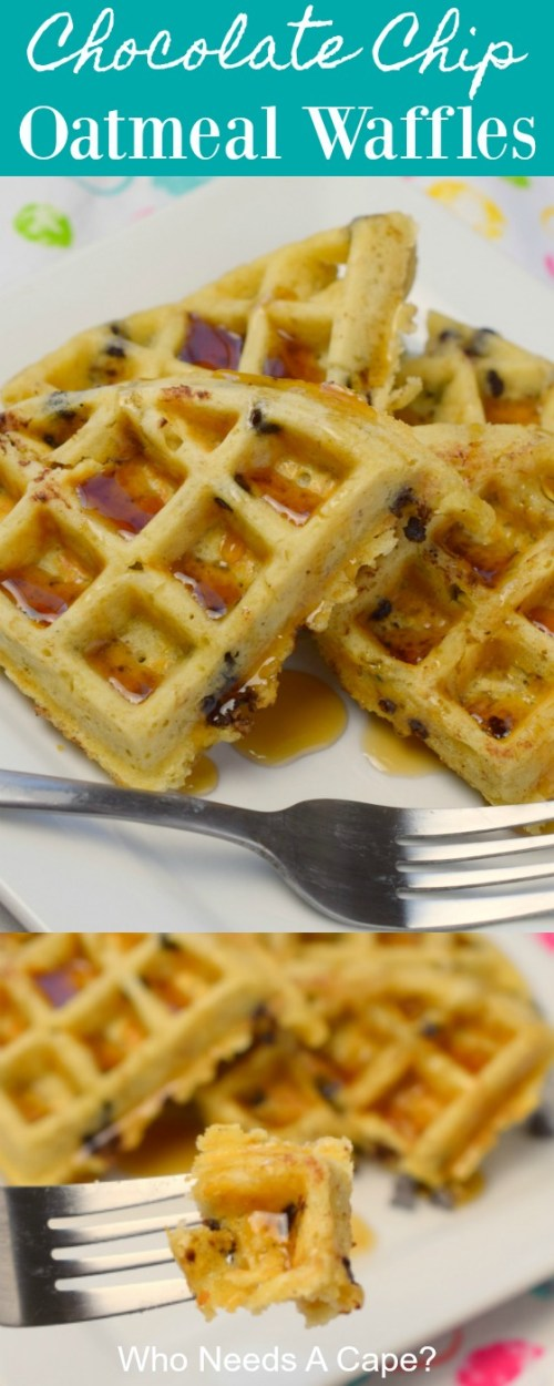chocolate chip oatmeal waffles with fork on white plate sitting on colorful fabric
