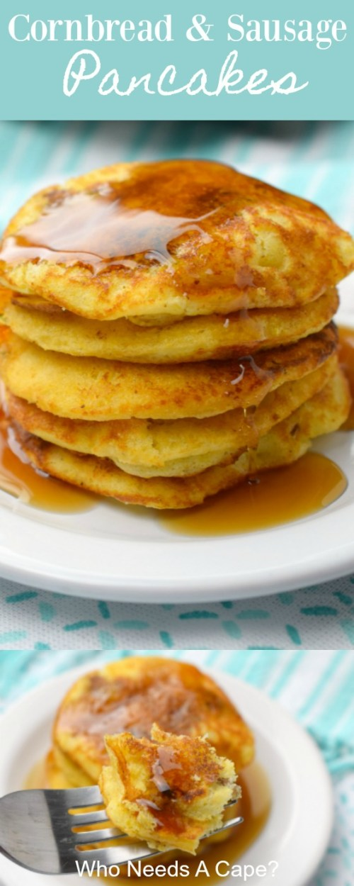 cornbread and sausage pancakes on white plate with syrup over blue and white fabric