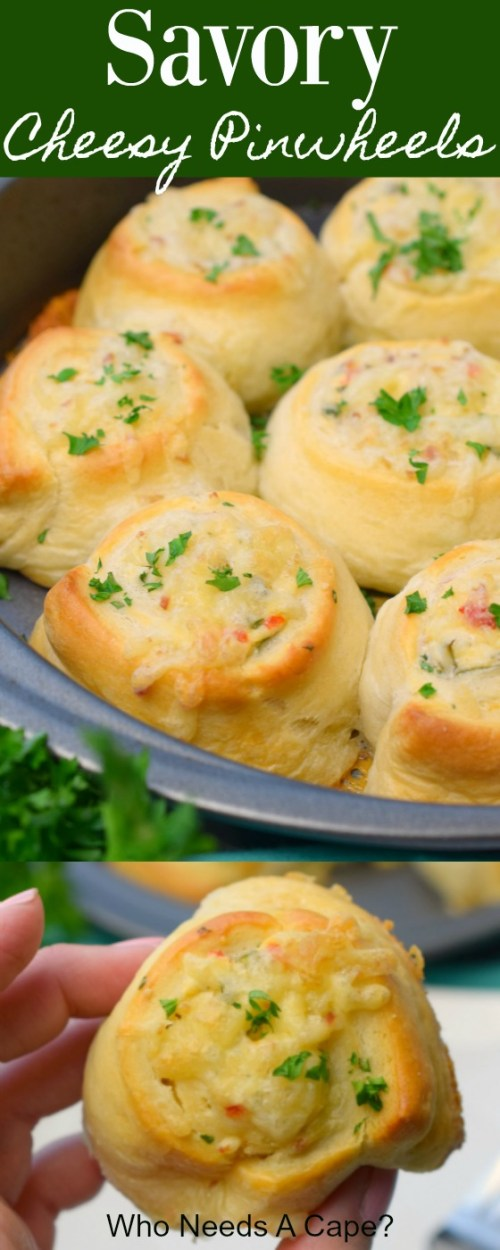 savory cheese pinwheels in metal pan with parsley next to pan