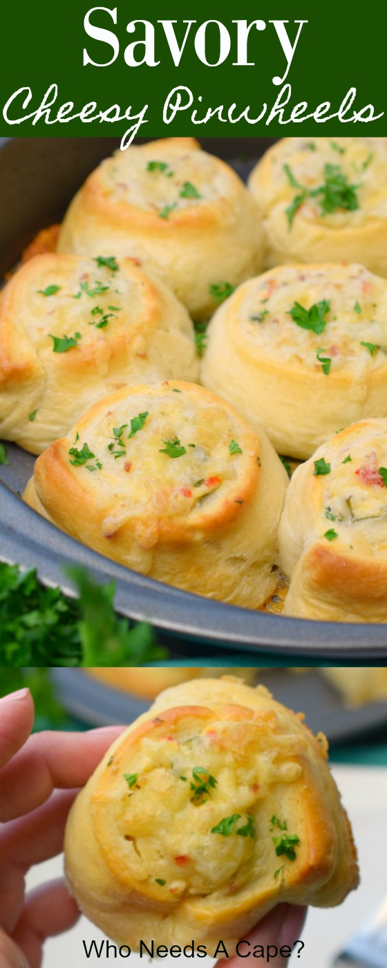You'll love how easy it is to make Savory Cheesy Pinwheels. Great side dish, brunch item or appetizer for holiday parties. Tasty and delicious!