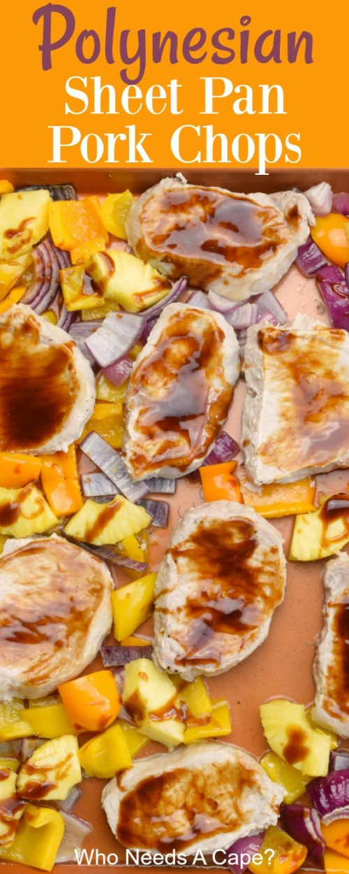 boneless pork chops with sauce on sheet pan with yellow and orange bell pepper red onion and pineapple