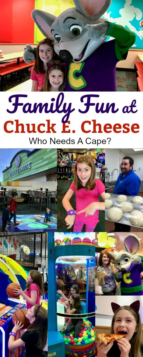 various pictures of family fun at Chuck E. Cheese