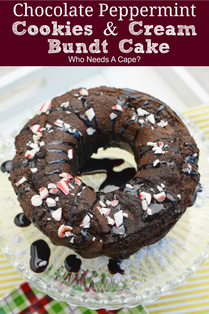 glass platter with chocolate peppermint cookies & cream bundt cake sitting on it with sauce drizzled and crushed peppermint candies