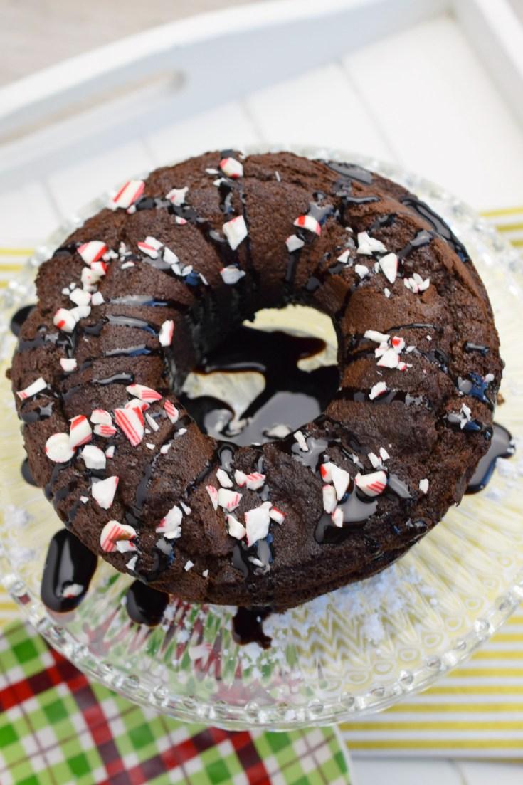 Chocolate Peppermint Cookies & Cream Bundt Cake