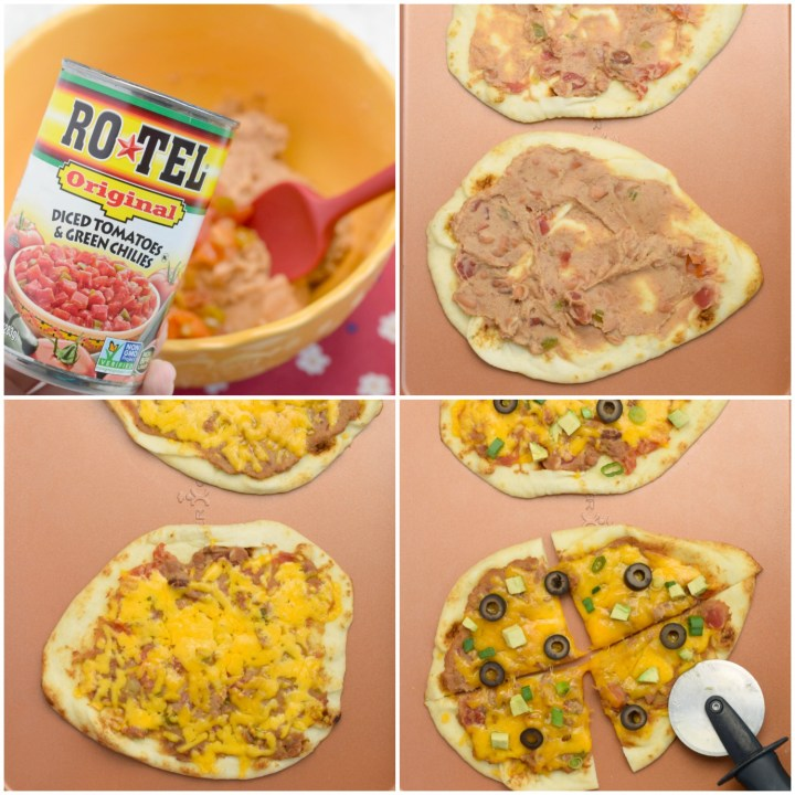 step by step assembly of mexican flatbread appetizer